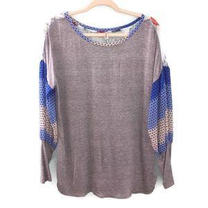 Tiny Anthropologie Sheer Floral Sweatshirt Blouse